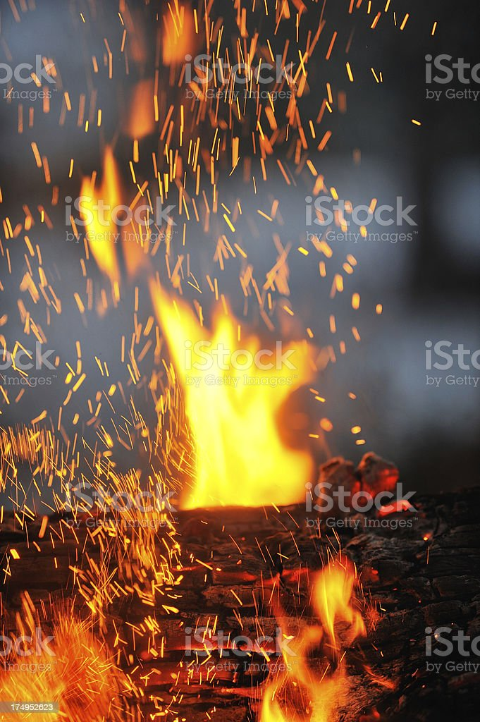 Close-up of campfire with flames and sparks.