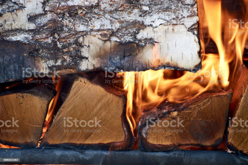 fire flames and woods in the bake foto stock royalty-free