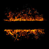 Fire flames border isolated on black background