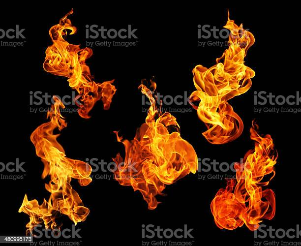 Photo of Fire flames collection isolated on black background