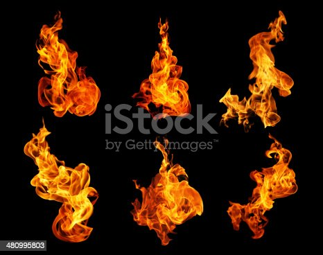istock Fire flames collection isolated on black background 480995803