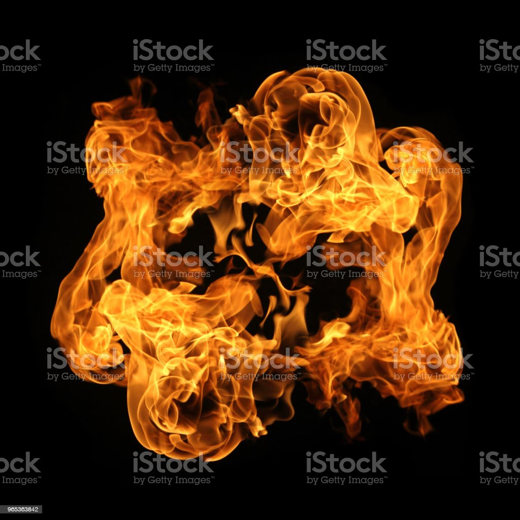 Fire flames collection isolated on black background royalty-free stock photo