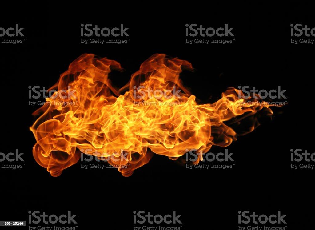 Feuer Flammen Sammlung auf schwarzem Hintergrund Isoliert  - Lizenzfrei Brandstiftung Stock-Foto