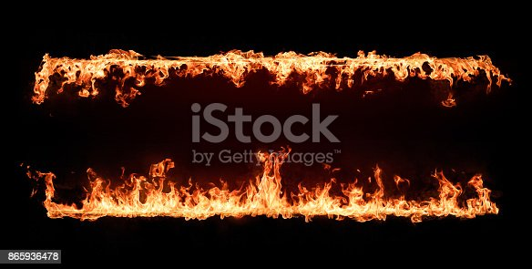 istock Fire Flames Frame. Design Element Isolated on Black Background 865936478