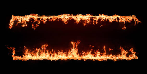 fire flames frame. design element isolated on black background - in a row stock pictures, royalty-free photos & images