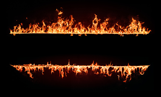 Fire Flames Frame. Design Element Isolated on Black Background