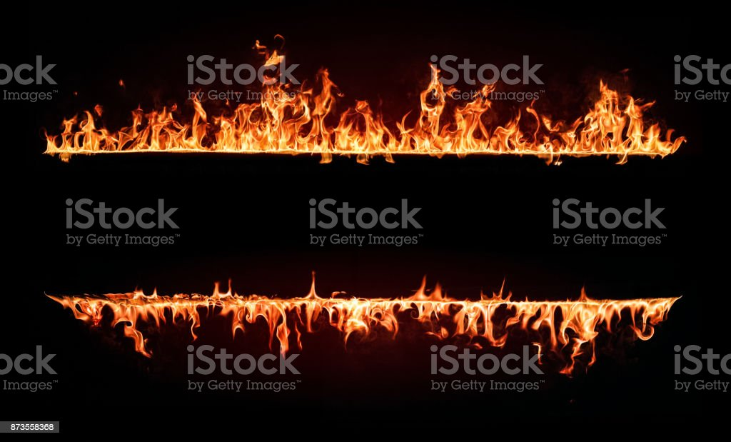 Fire Flames Frame. Design Element Isolated on Black Background stock photo
