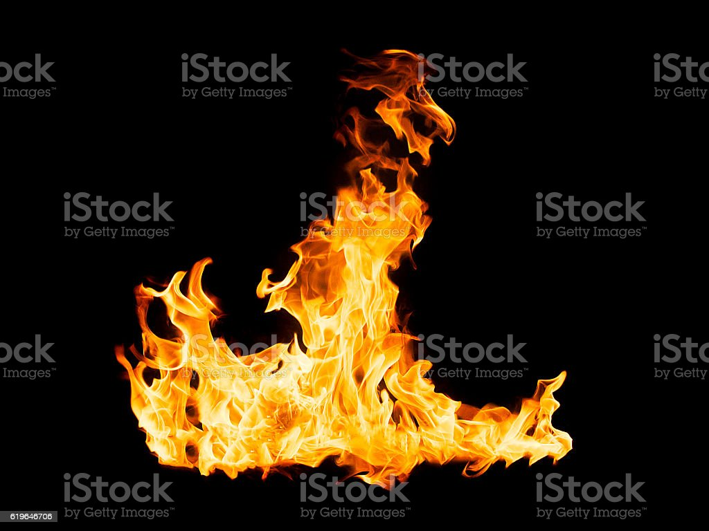 Fire flames - isolated on black background stock photo