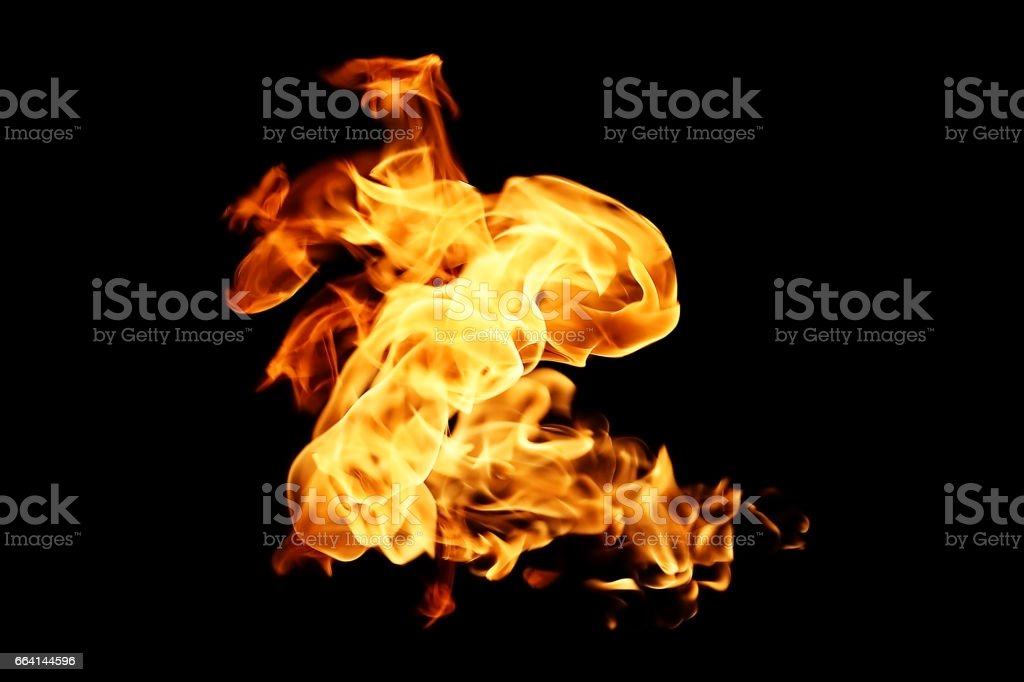 Fire flames isolated on black background foto stock royalty-free