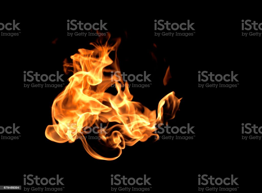 Fire flames on a black background 免版稅 stock photo