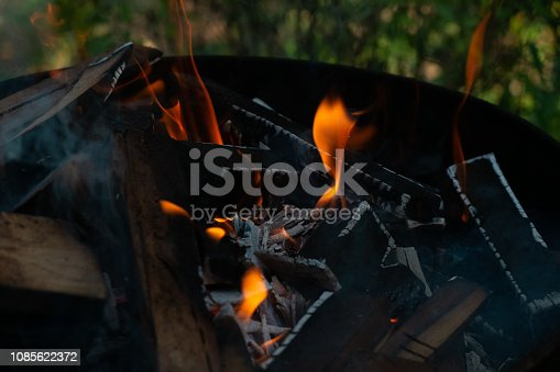 istock Fire flames on black background, on fire abstract 1085622372