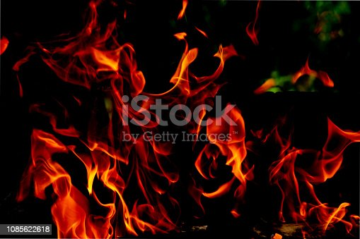 istock Fire flames on black background, on fire abstract 1085622618