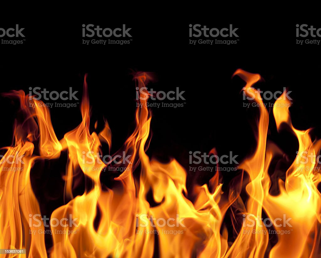 Fire flames on black background Fire flames on black background Flame Stock Photo