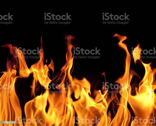 Fire Flames On Black Background Stock Photo - Download Image Now