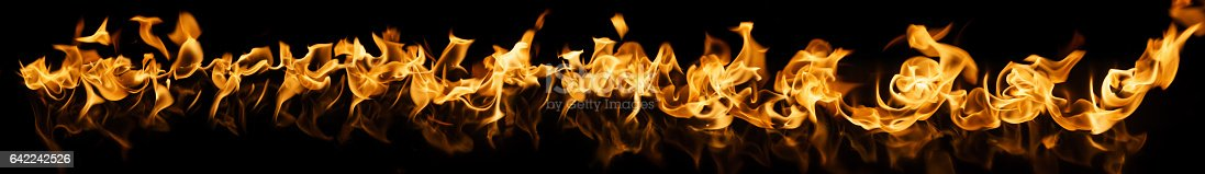 istock Fire Flames on black background 642242526