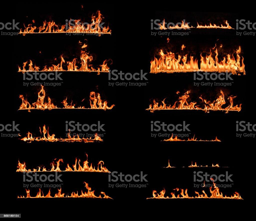 Feuer Flammen. Reihe von Design-Elemente auf schwarzem Hintergrund isoliert – Foto