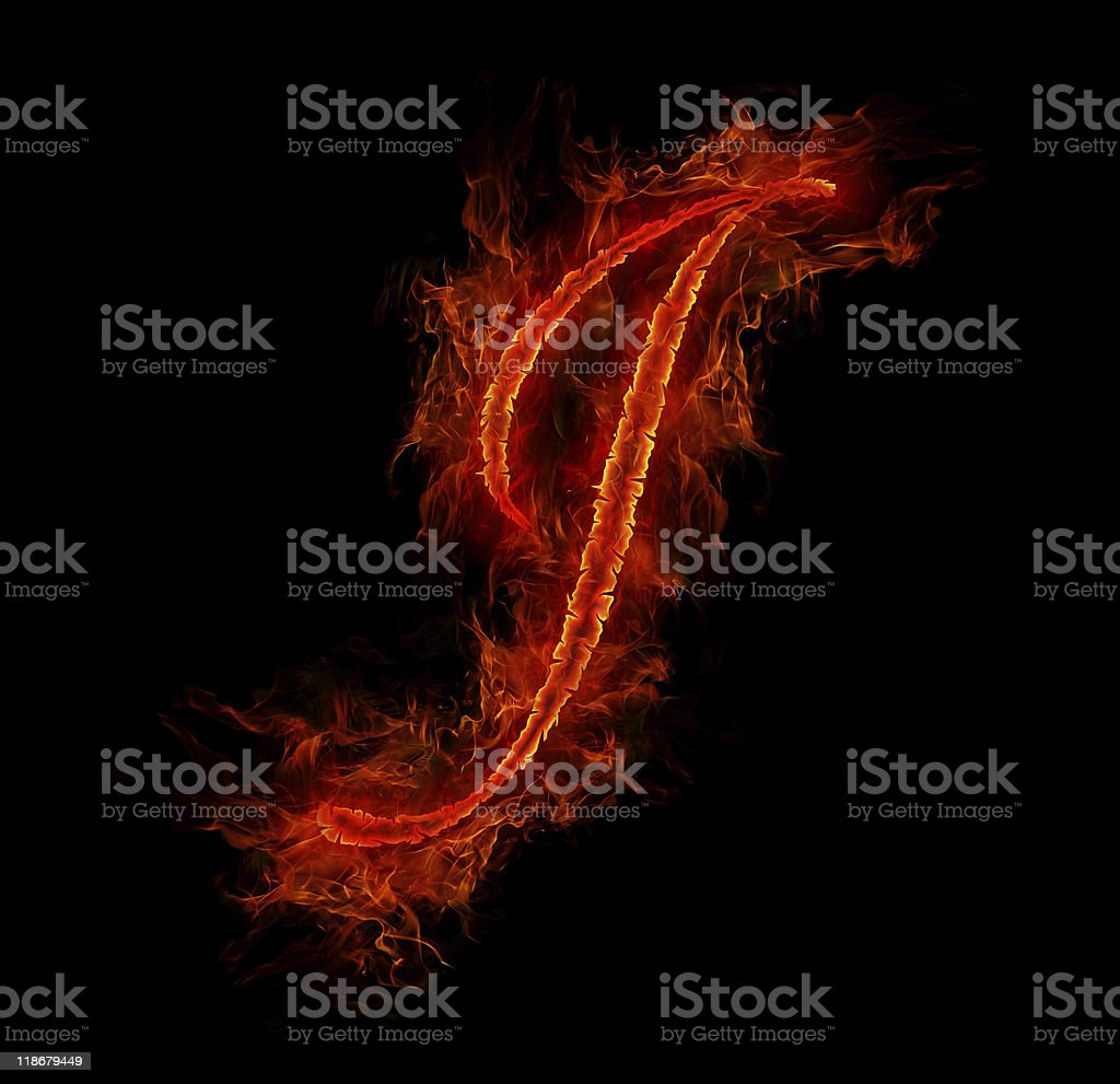 Fire font. Letter J from alphabet royalty-free stock photo
