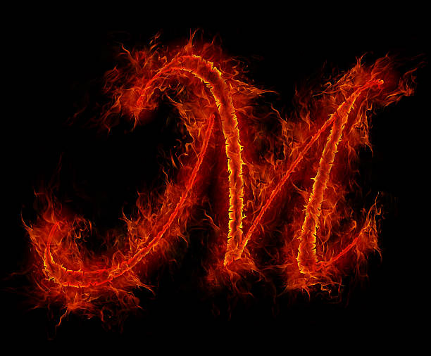 Fire font. Letter M from alphabet stock photo