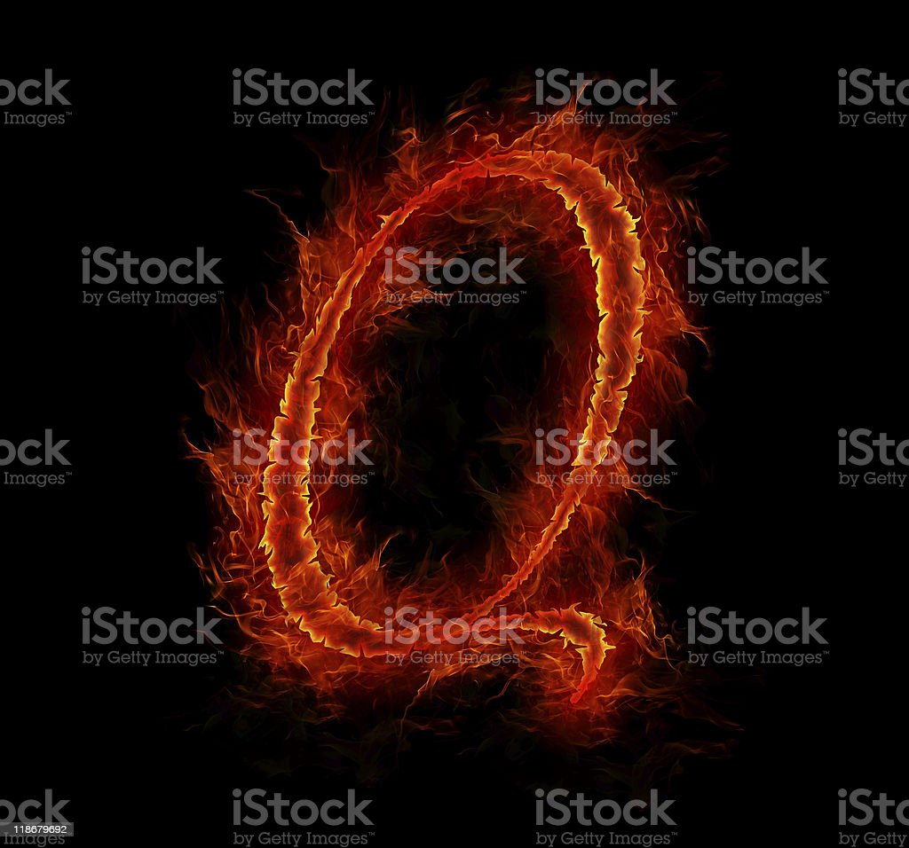 Fire Font Letter Q From Alphabet Stock Photo - Download Image Now