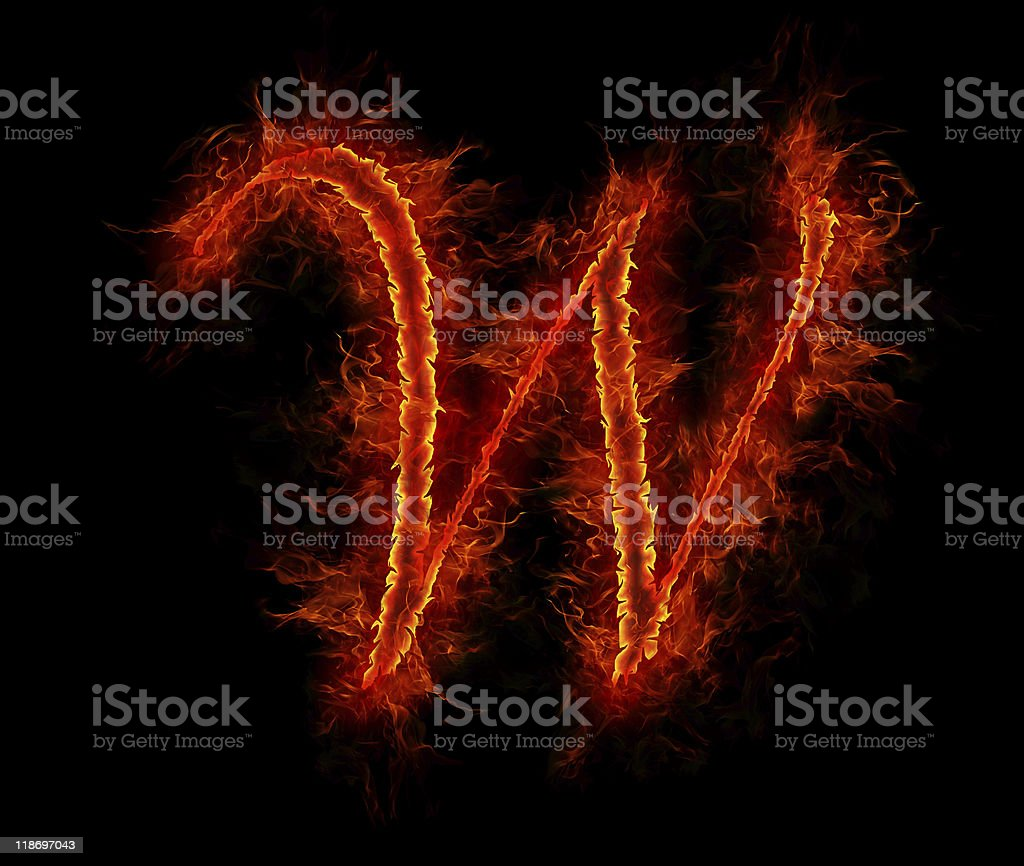 Fire font. Letter W from alphabet royalty-free stock photo