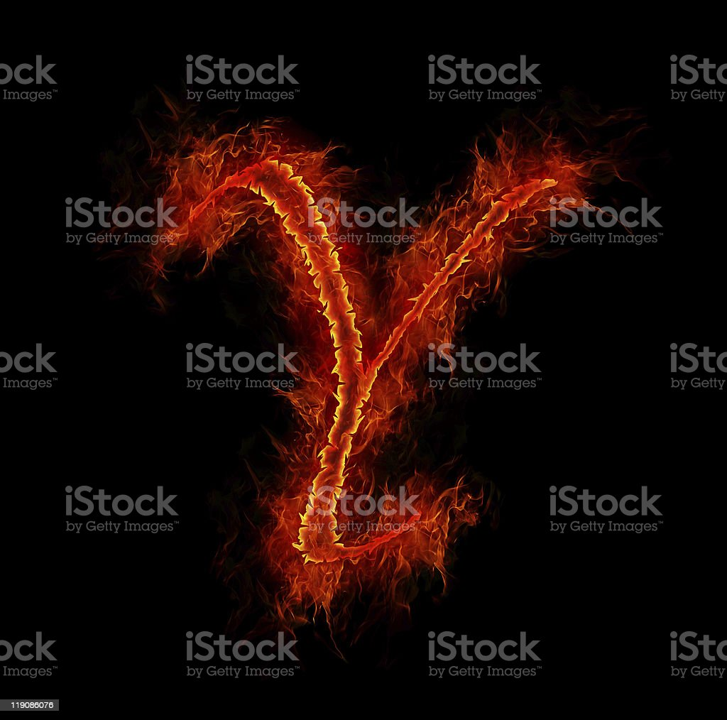 Fire font. Letter Y from alphabet royalty-free stock photo