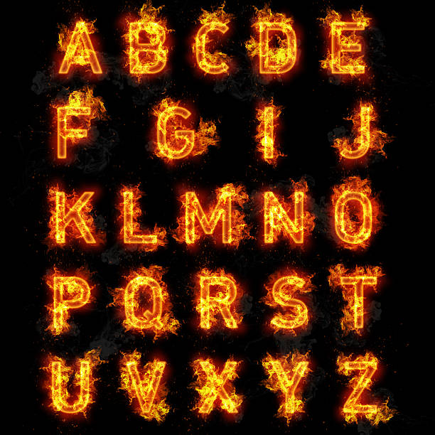 Fire font text all letters of alphabet on black background stock photo