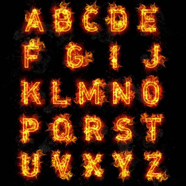 火フォントアルファベット文字のテキストすべてに黒色の背景 ストックフォト