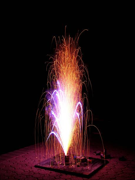 fire fountain - petard stock photos and pictures