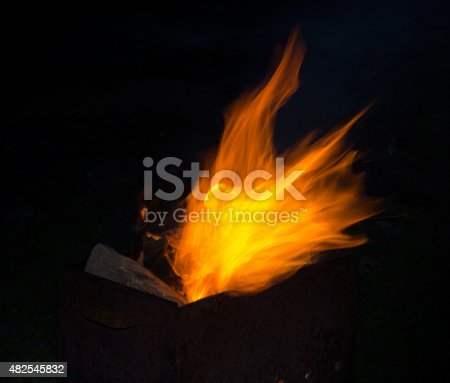 Fire in grill in the summer night