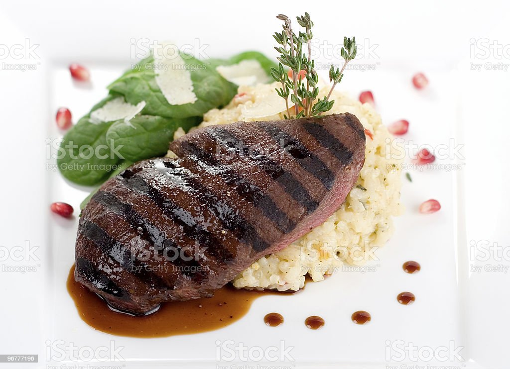 Fire Grilled Ostrich Sirloin royalty-free stock photo