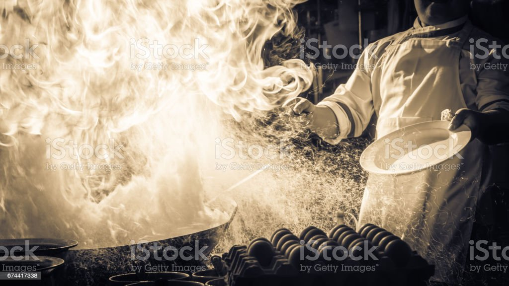 Fire hard cooking stock photo