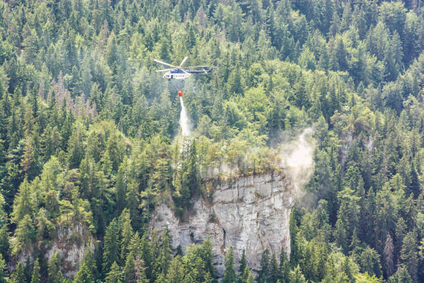 소방 헬기숲, 빅 파트라, 슬로바키아에서 화재를 진압 스톡 사진