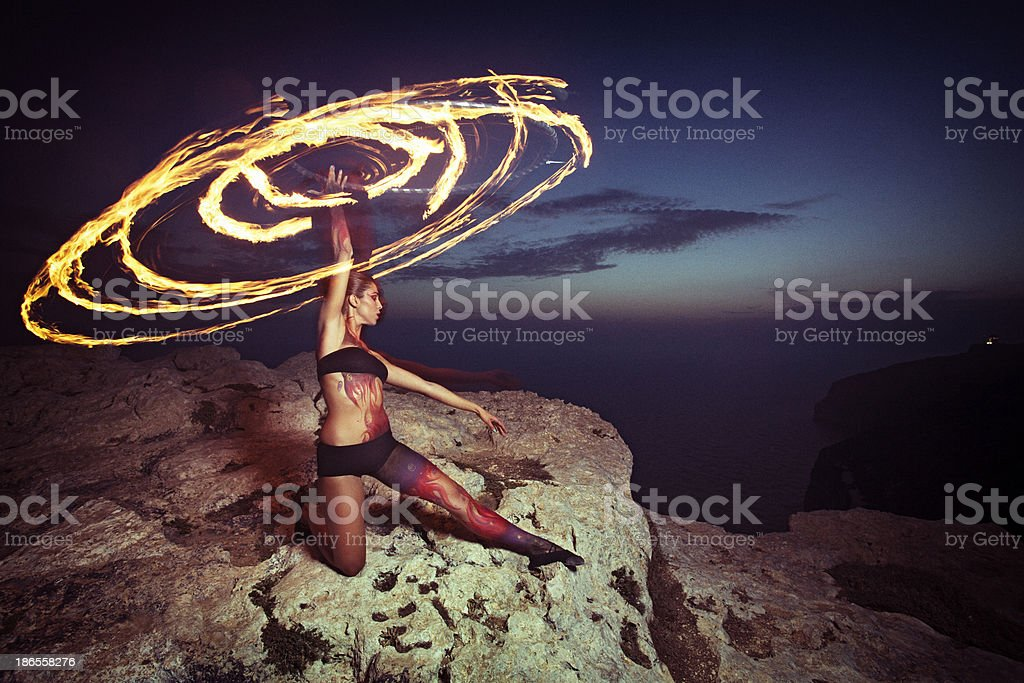 Fire Hoop Dancer stock photo