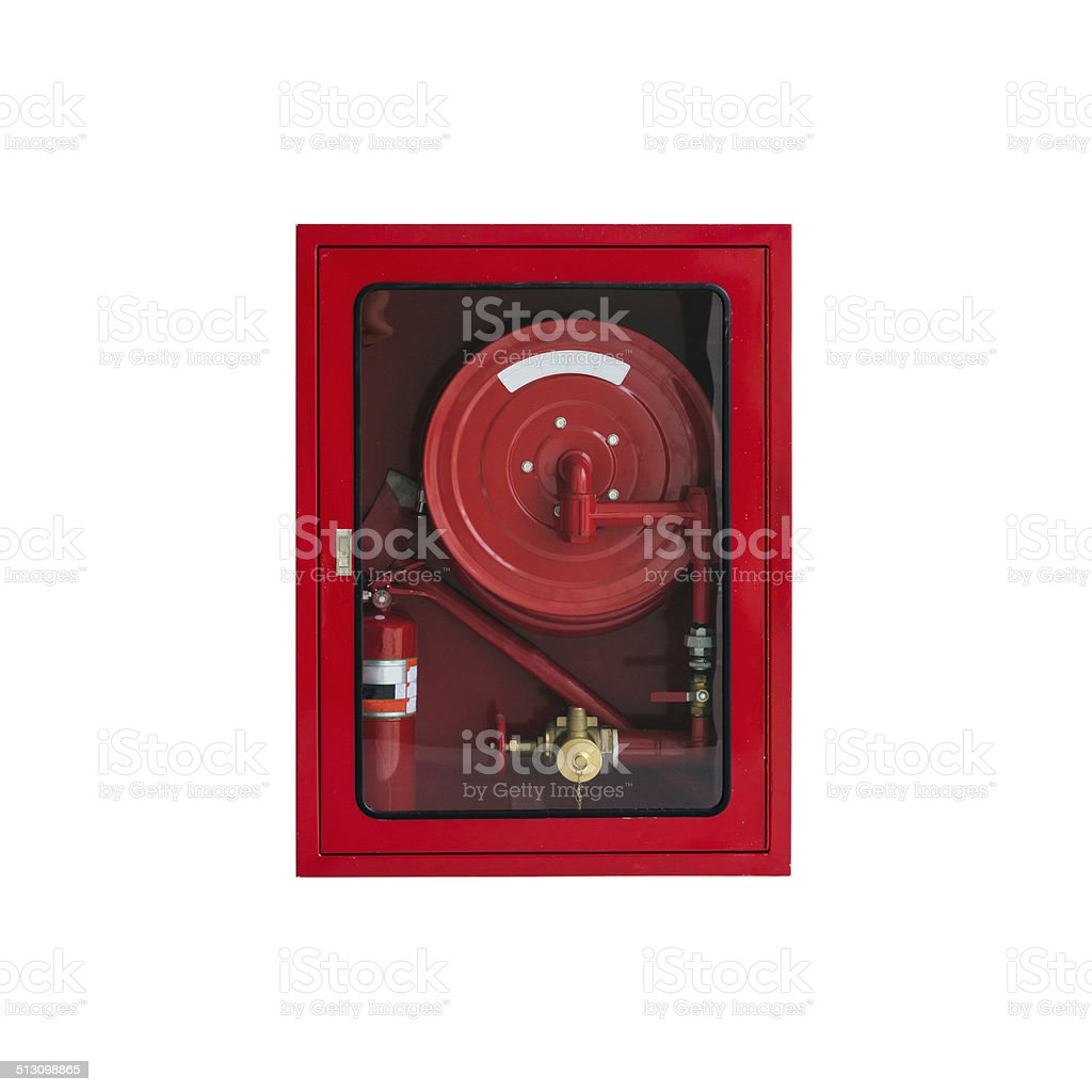Fire Hose Cabinet on White stock photo