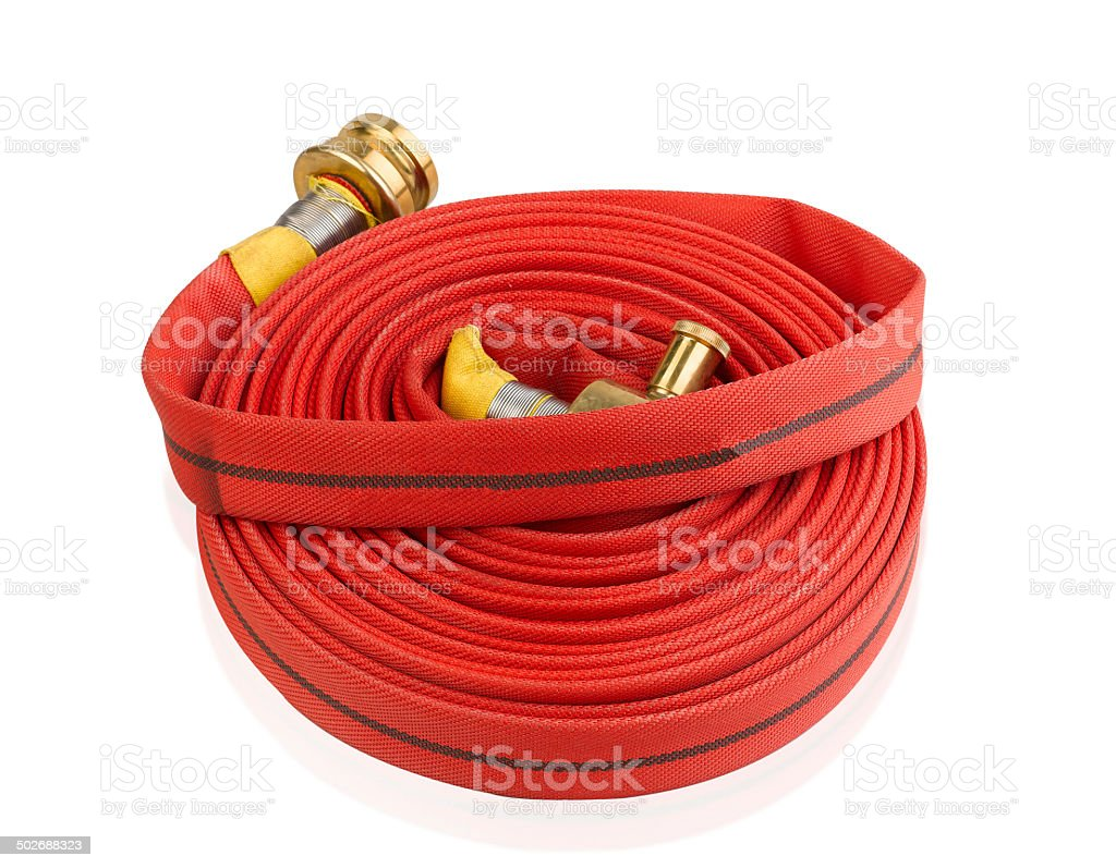 Fire hose soft extension pipe isolated stock photo