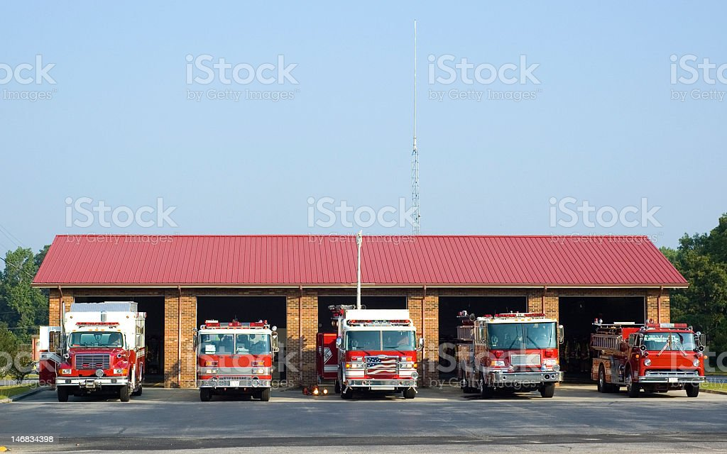 Fire House with trucks stock photo