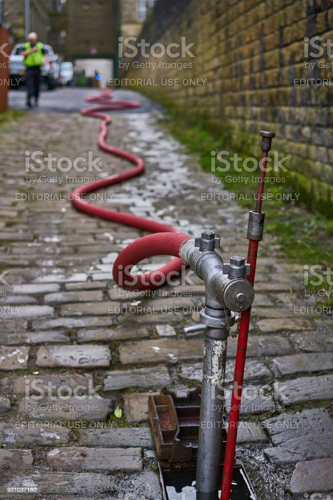 Fire Hydrant at Fire Incident stock photo