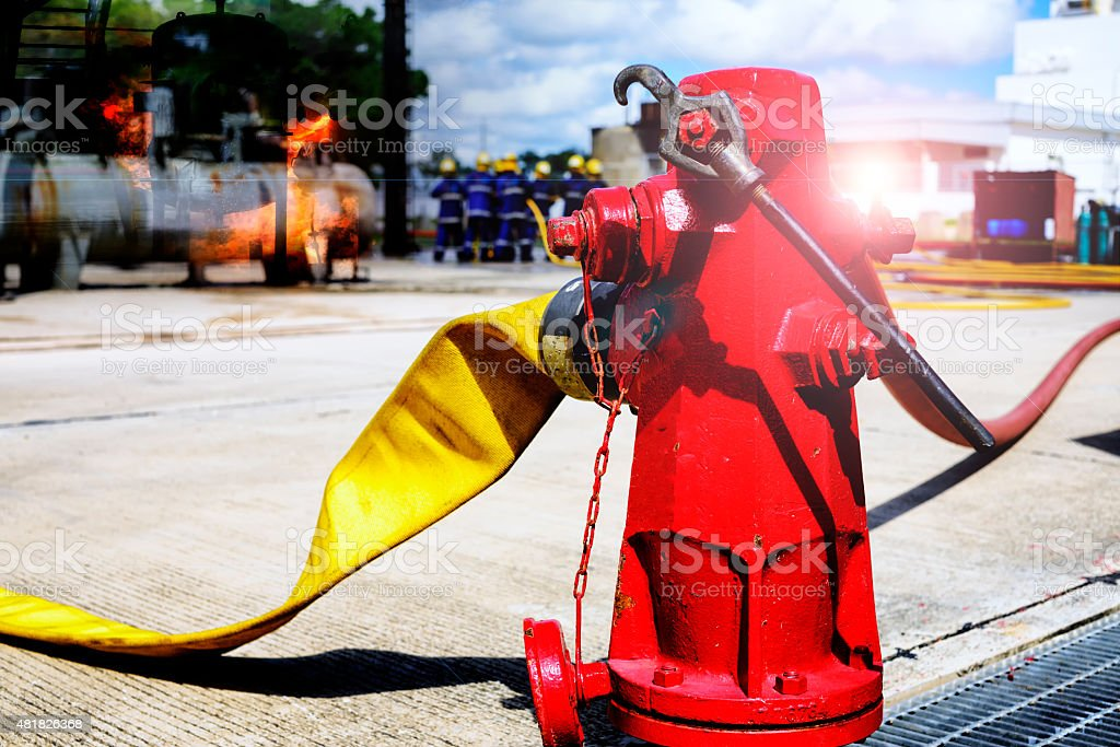 fire hydrant , hose connection ,fire fighting equipment for fire fighter. stock photo