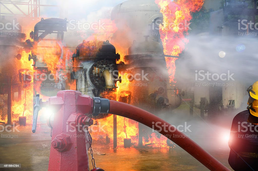 fire hydrant , hose connection ,fire fighting equipment for fire fighter stock photo