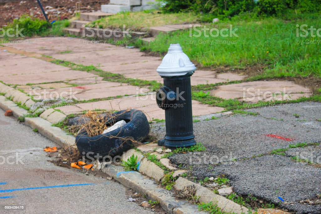 Fire Hydrant in Blighted Area stock photo