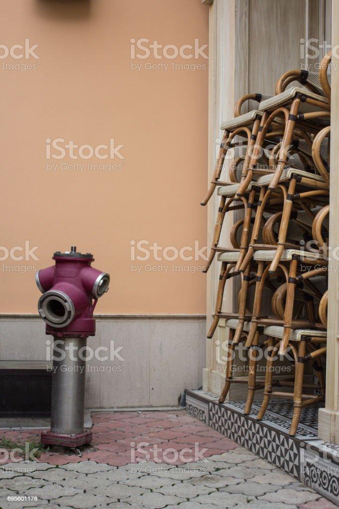 fire hydrant near cafe stock photo