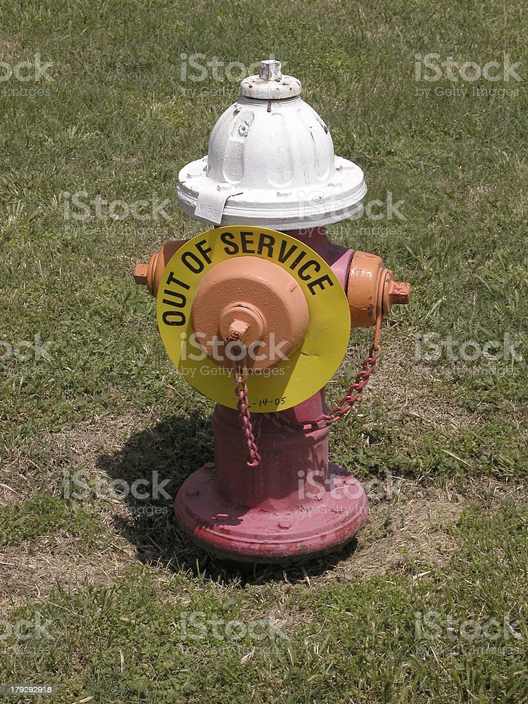 Fire Hydrant out of service stock photo