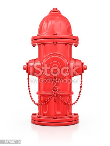 isolated red fire hydrant.3d render.
