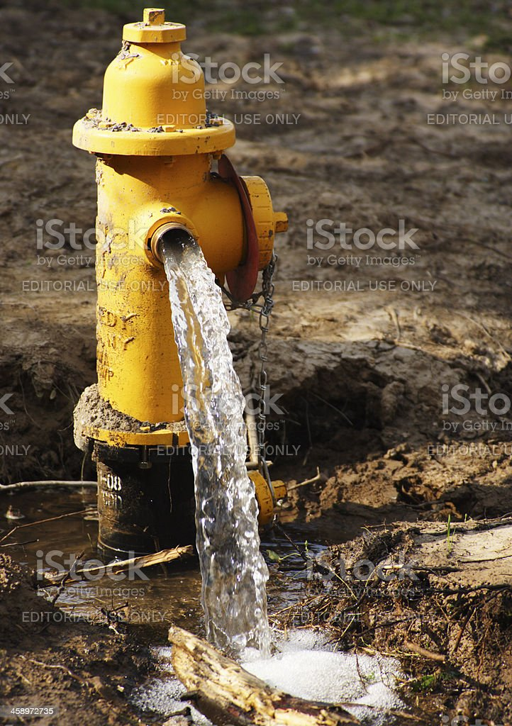 Fire Hydrant Pumping Water royalty-free stock photo