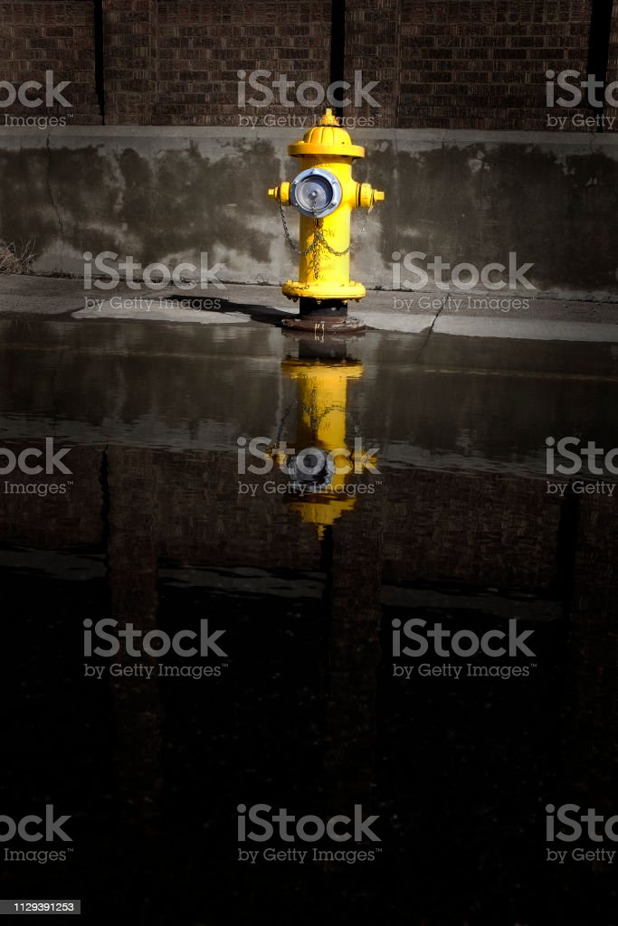 Fire hydrant with large water puddle reflection and building in urban...