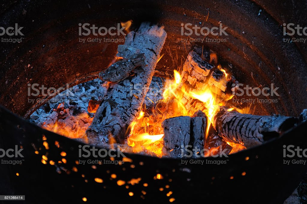 fire in a barrel stock photo