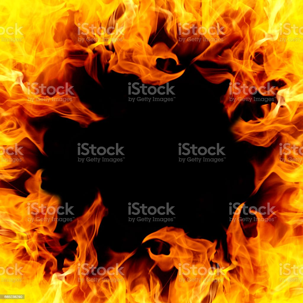 Fire in a frame stock photo