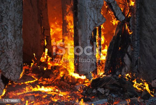 istock Fire in an abandoned house detail 176798851