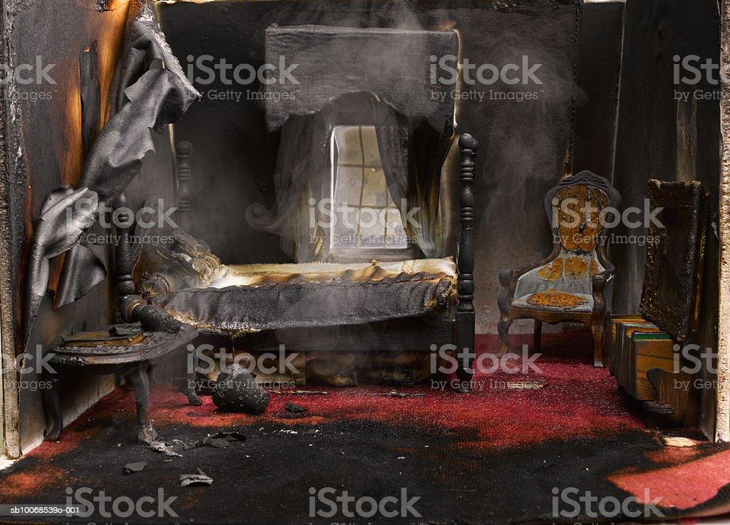 Fogo no quarto de casa modelo, close-up foto royalty-free