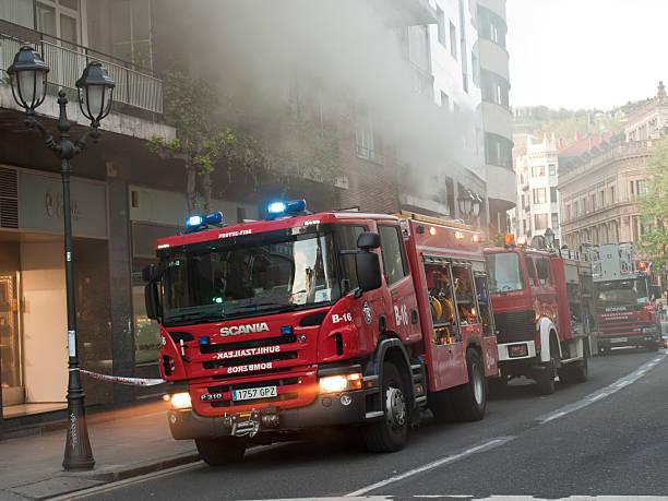 Fire in Bilbao stock photo